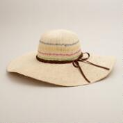 Natural Sunhat with Multicolored Stripe