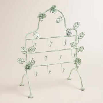 Green Patina 3-Row Roses Jewelry Stand