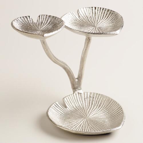 Silver 3-Tiered Lily Pads Jewelry Stand