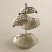 Silver 4-Tiered Cutouts Jewelry Stand
