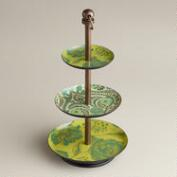 Green Floral Enamel Three-Tiered Jewelry Stand