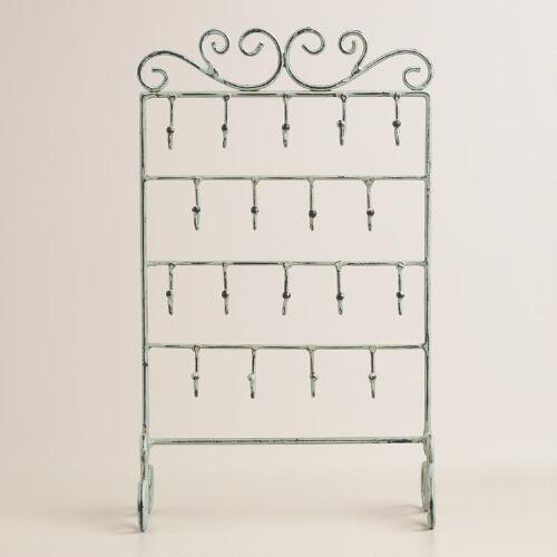 Green Patina Four-Row Hooks Jewelry Stand with Hooks