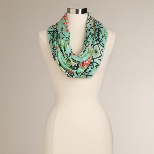 Mint and Coral Tribal Geo Infinity Scarf