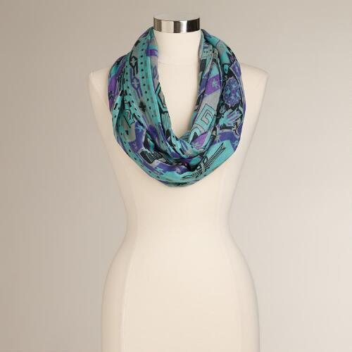 Aqua, Black and Purple Tribal Infinity Scarf