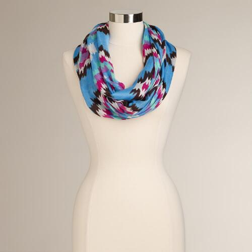 Blue Ikat Infinity  Scarf
