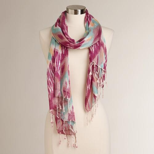 Purple, Aqua and Taupe Ikat Scarf with Fringe