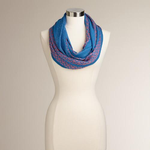Blue and Coral Woven Lurex Stripe Infinity Scarf