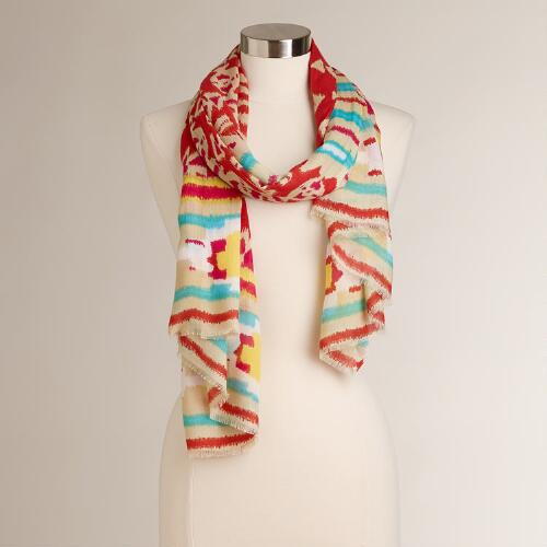 Red, Tan and Blue Geo Tribal Scarf