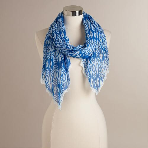 Blue and White Tribal Scarf