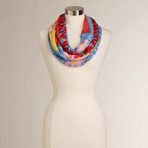 Blue and Pink Abstract Tribal Scarf