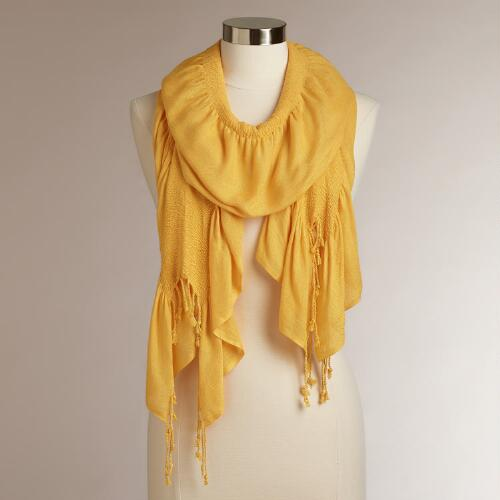 Yellow Ruched Scarf with Fringe