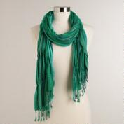 Teal Ruched Scarf with Lurex Stripe