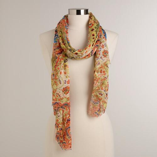 Orange and Blue Paisley Border Scarf