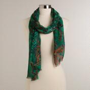 Green and Orange Diamond Print Infinity Scarf