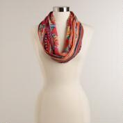 Pink and Orange Floral with Ikat Print Infinity Scarf