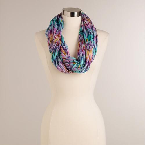 Mint and Lavender Multicolored Ikat Infinity Scarf