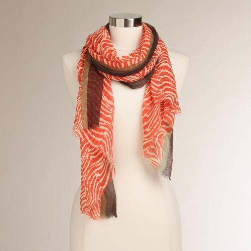 Red Zebra Print Scarf with Contrast Border
