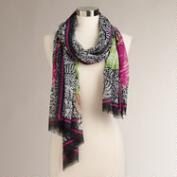 Oversized Black and Fuchsia Flower Scarf