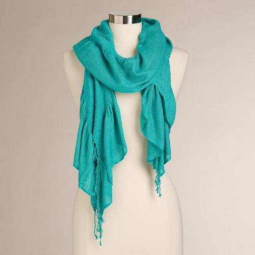 Aqua Ruched Scarf with Fringe