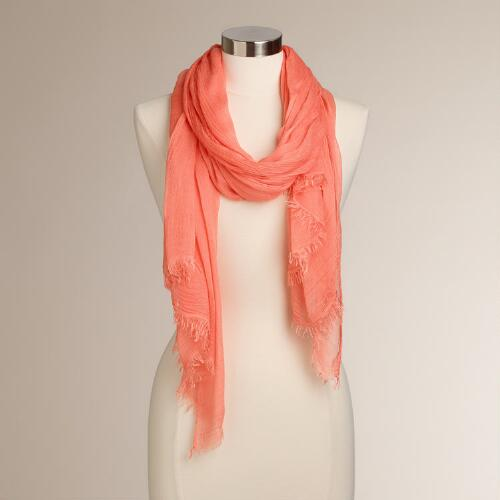 Coral Sheer Scarf with Frayed Edges