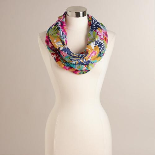 Navy and Fuchsia Tropical Floral Infinity Scarf