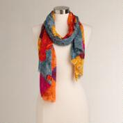 Gold and Orange Tropical Floral Infinity Scarf