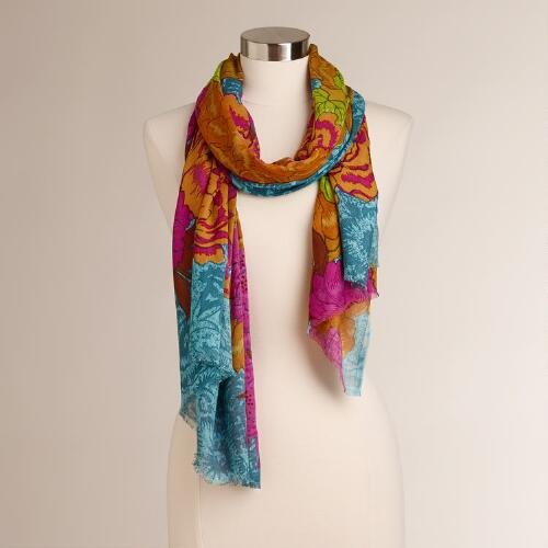 Gold and Fuchsia Poppy Floral Scarf