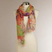 Orange and Pink Mixed Floral Scarf