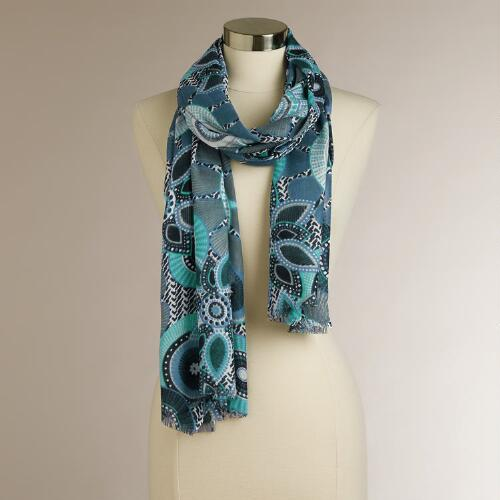 Blue Medallion Floral Scarf
