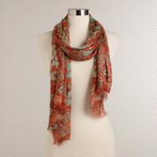 Mint and Orange Mosaic Scarf