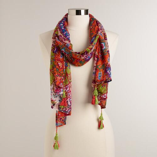 Floral Scarf with Orange and Lime Tassels