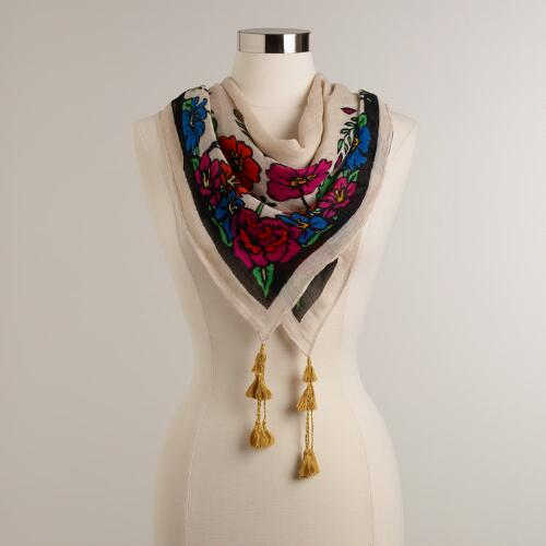 Multicolored Floral with Black Tassels Square Scarf