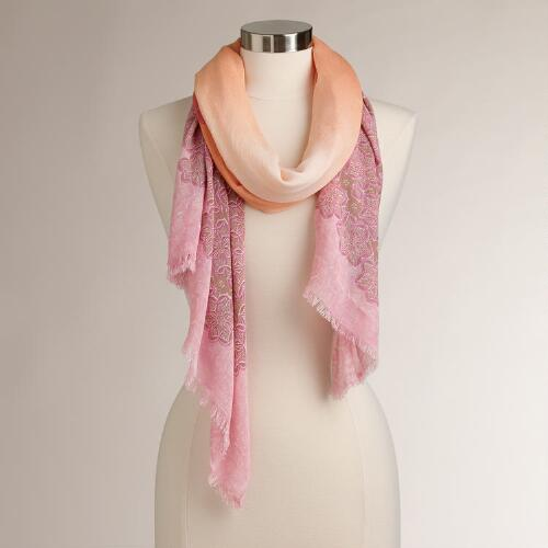 Warm Floral Ombre Medallion Scarf