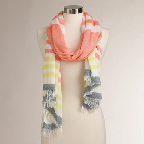 Peach, White and Yellow Striped Scarf
