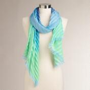 Blue and Green Accordion Scarf