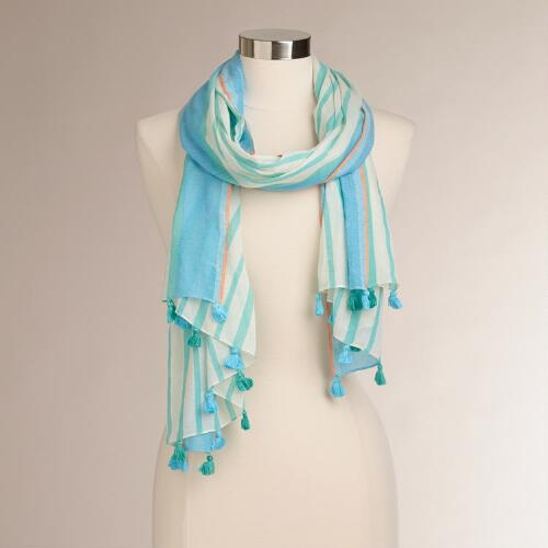 White and Aqua Stripe Scarf with Tassels