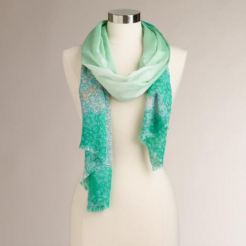 Cool Floral Ombre Medallion Scarf