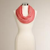 Coral Woven Lurex Stripe Infinity Scarf