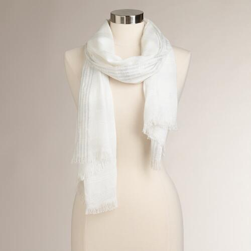 Lurex Stripe White Scarf