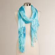 Tonal Blue Tie Dye with Fringe Scarf