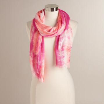Orange and Pink Tie Dye Scarf