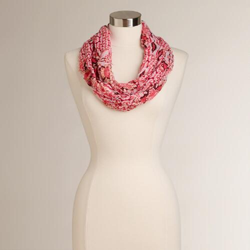 Pink and Black Tribal Infinity Scarf with Frayed Edges