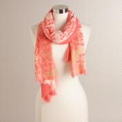 Coral Tie Dye Scarf with Cream Border