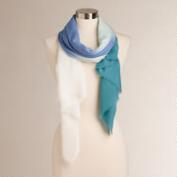 White, Blue and Teal Ombre Scarf