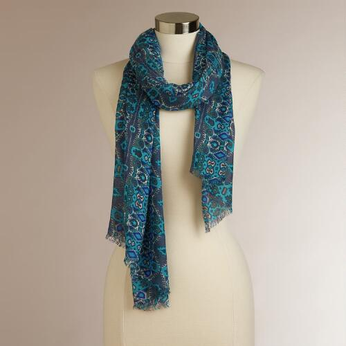 Multicolored Blue Geo Row Scarf