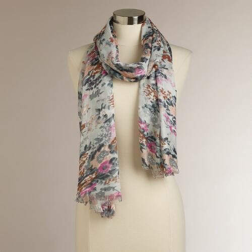 Multicolored Soft Floral Scarf