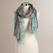 Mint, Gray Floral and Gold Paisley Scarf