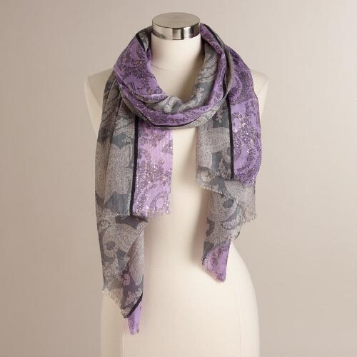 Lavender, Gray Floral and Gold Paisley Scarf