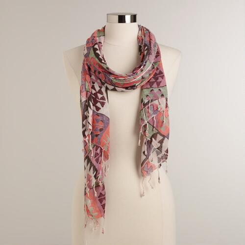 Lavender and Pink Tribal Geo Print Infinity Scarf