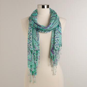 Turquoise and Blue Tribal Geo Print Scarf with Fringe